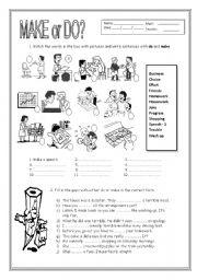 English Worksheet: Make or Do?