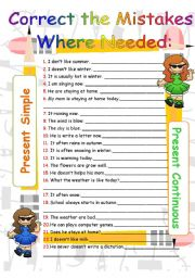 English worksheet: Present Simple vs. Present Continuous