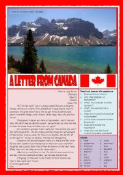 English Worksheet: A letter from Canada