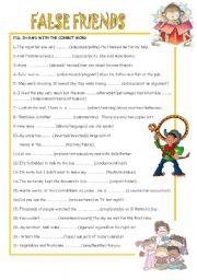 English Worksheet: FALSE FRIENDS