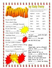 English Worksheets: Firework by Katy Perry