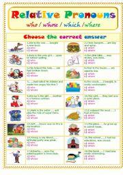 English Worksheet: Relative Pronouns .....