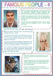 English Worksheet: FAMOUS PEOPLE 4