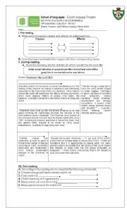 English Worksheets: causes and effects