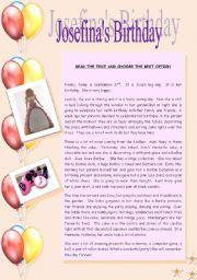 English Worksheet: Josefina�s Birthday