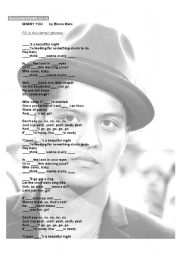 English Worksheets: Marry you by Bruno Mars