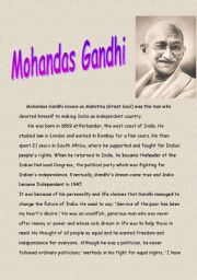 English Worksheets: Ghandi
