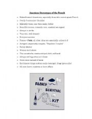 English Worksheet: American Stereotypes of the French
