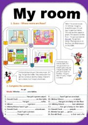 English Worksheet: Furniture/ Guess - whose rooms are these?/ has got-hasn´t got