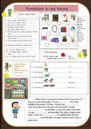English Worksheet: Furniture (singular&plural)/Colours/Prepositions