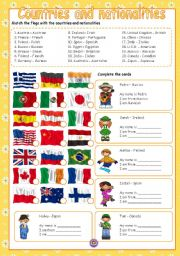 English Worksheet: COUNTRIES AND NATIONALITIES (COLOUR + B/W)