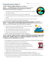 English Worksheet: Capitalization- Day 5