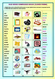 Compound nouns (one-word compound nouns) + key - ESL worksheet by ...