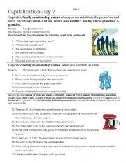 English Worksheet: Capitalization- Day 7