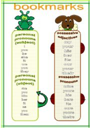 English Worksheet: bookmarks and exercises 2 (18.02.12)