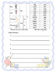 English Worksheets: first sentences