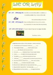 English Worksheets: lie or lay