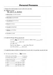 English Worksheets: Personal Pronous
