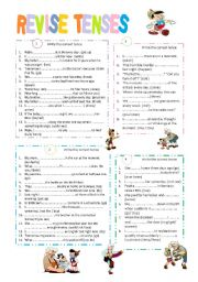 English Worksheet: revise verb tenses ( A2)