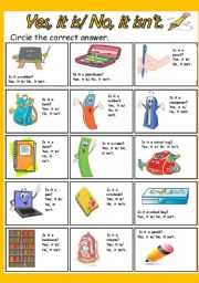 English Worksheets: Yes, it is/ No, it isn�t.