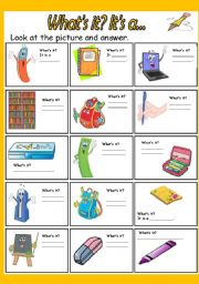 English Worksheet: What�s it? - School objects