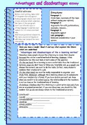 English Worksheet: for and against essay