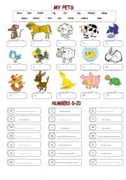 English Worksheets: My pets & Numbers 0-20