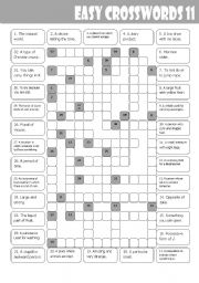 English Worksheets: Easy Crosswords 11