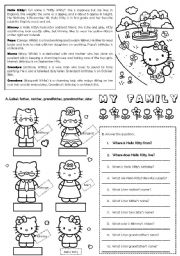 English Worksheet: Hello Kitty�s Family (editable)