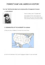 English Worksheet: Forrest Gump and American history