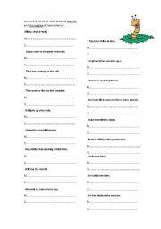 English Worksheets: Affirmative, negative, interrogative sentences.