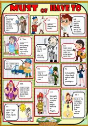 English Worksheet: must or have to