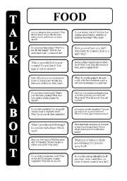 English Worksheet: Food - 18 conversation cards - upper-intermediate level (editable)