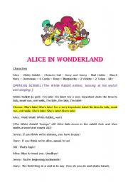 ALICE IN WONDERLAND - script for a play