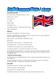 English Worksheet: British English Money Lingo or Slang