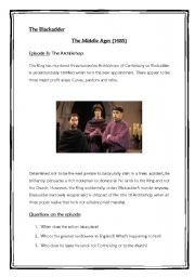 English Worksheet: The Blackadder. Middle Ages. The Archbishop