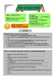 English Worksheet: Unless-as long as-provided