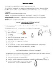English Worksheets: What�s HIV?