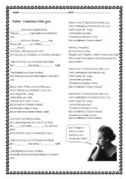 English Worksheet: Adele. Someone like you.