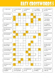 English Worksheet: Easy Crosswords 5