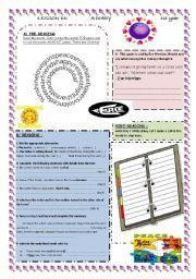 English Worksheets: a diary