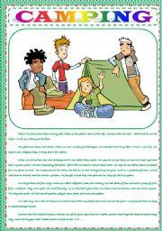 English Worksheet: CAMPING / HOBBIES