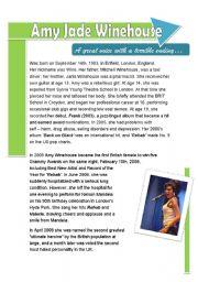 English Worksheets: Amy Winehouse�s timeline