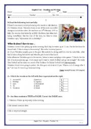 English Worksheet: Test 7th - Valentino Rossi�s daily routine