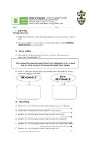 English Worksheet: Energy  resources