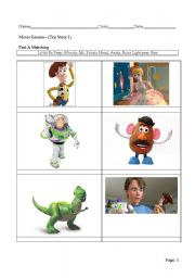 English Worksheets: Toy Story matching