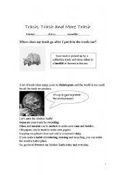 English Worksheets: trash, trash and more trash