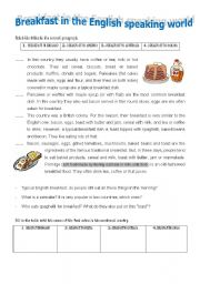 English Worksheet: Breakfast in the English-speaking world