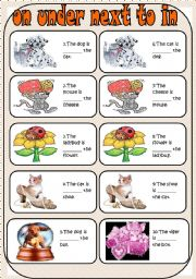 English Worksheet: on -under- next to-in
