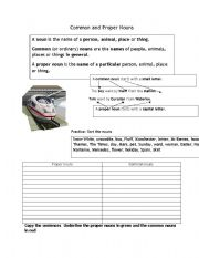 English Worksheets: Common and Proper nouns